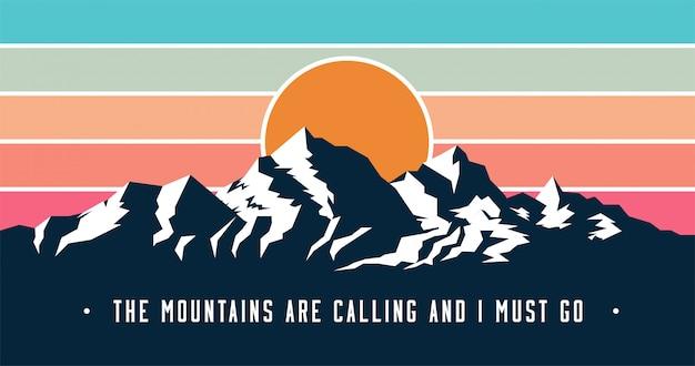 山とビンテージスタイルの山のバナーが呼んでいるし、キャプションを移動する必要があります。 Premiumベクター