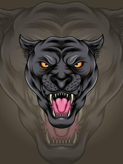 Голова мускулистая черная пантера иллюстрация Premium векторы