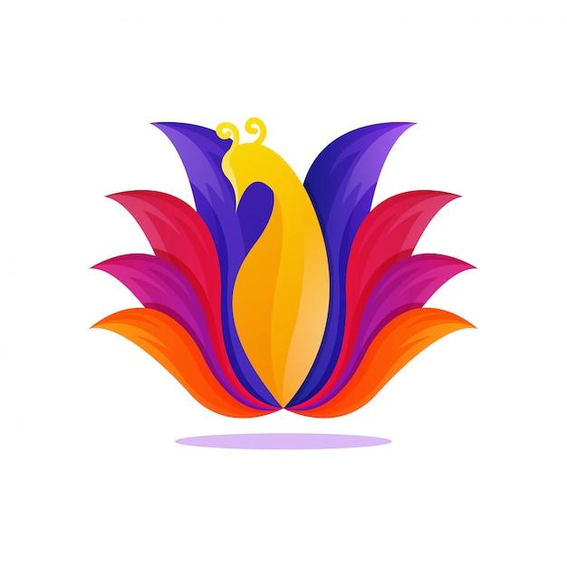 カラフルな孔雀のグラデーションアートワークのロゴのテンプレート Premiumベクター