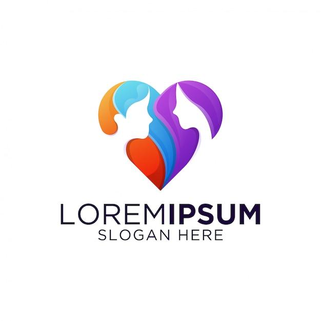 素晴らしいカラフルなデートの愛のロゴのテンプレート Premiumベクター