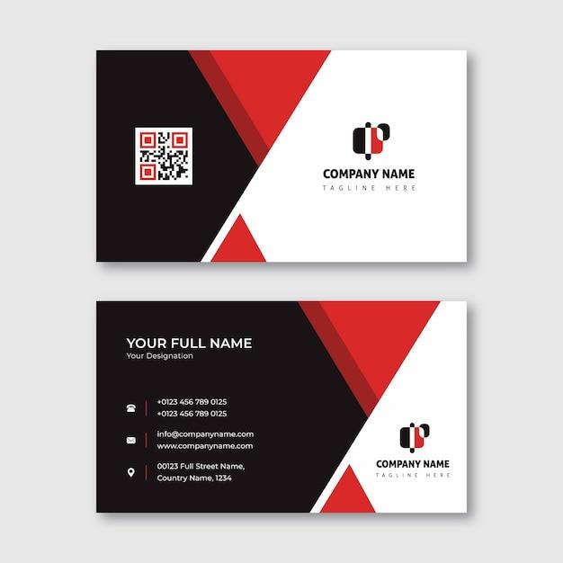 赤と黒の三角形の形の名刺 Premiumベクター