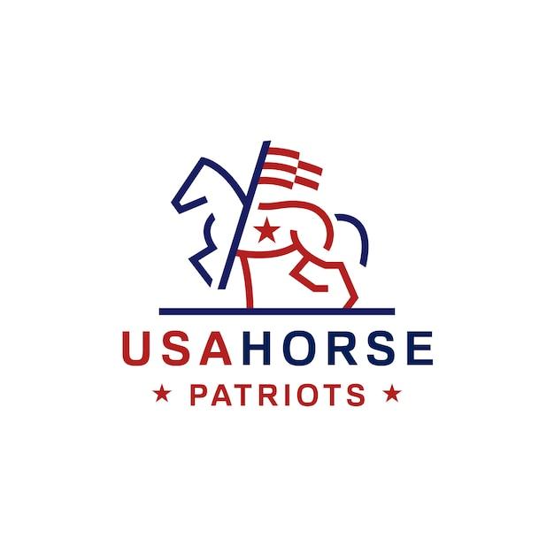 アメリカの国旗馬のロゴ Premiumベクター