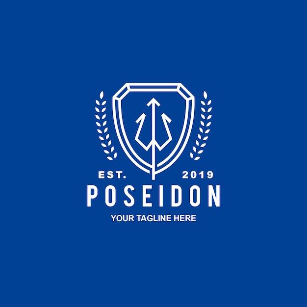 ポセイドンクレストセキュリティロゴ Premiumベクター