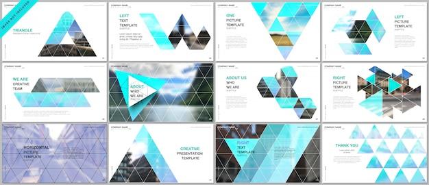 Презентации охватывают шаблоны портфолио с треугольным узором Premium векторы