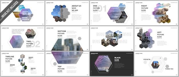 最小限のプレゼンテーションデザイン、六角形と六角形の要素を持つベクトルテンプレート。 Premiumベクター