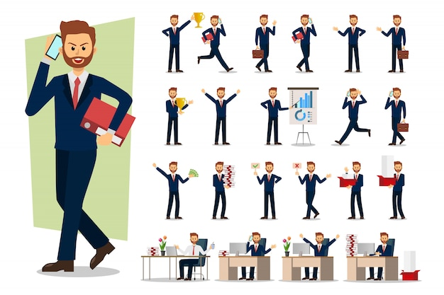 Набор бизнесмен характер Premium векторы