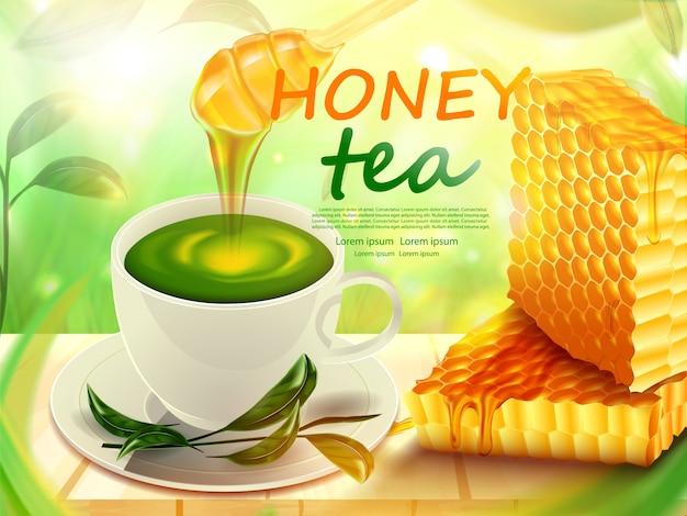 Соты и чашка чая с медом на деревянном полу плакат продукта Premium векторы