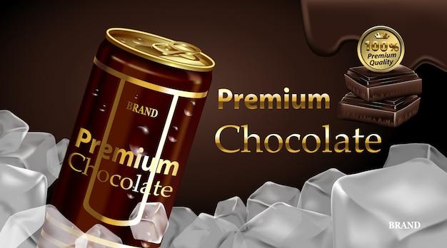 チョコレートとダークブラウン色のチョコレートドリンクブリキ缶 Premiumベクター