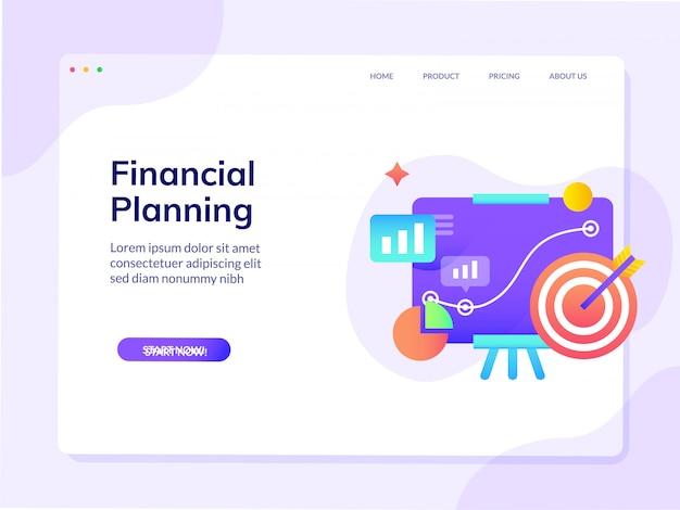 Шаблон веб-дизайна для веб-сайта финансового планирования Premium векторы