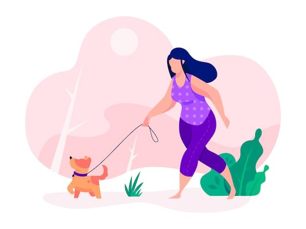 犬を実行している犬とウォーカー女性運動 Premiumベクター