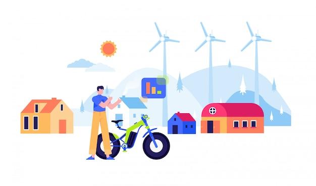 再生可能エネルギー風車原子力ソーラーパネル電気フラット設計図 Premiumベクター