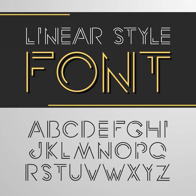 線のスタイルのシンプルでミニマルなアルファベット Premiumベクター