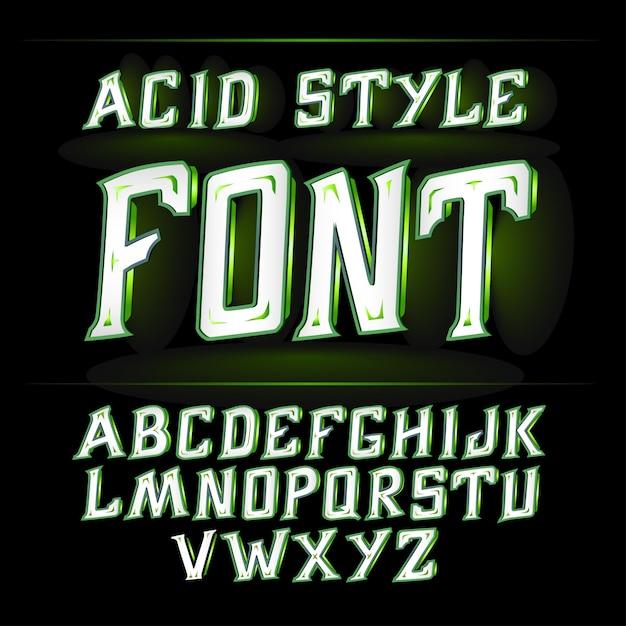 Кислотный шрифт подходит для украшения алкогольной продукции листовка и другая печать зеленая Premium векторы