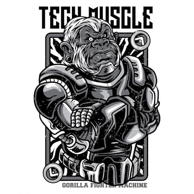 ハイテク筋肉白黒イラスト Premiumベクター