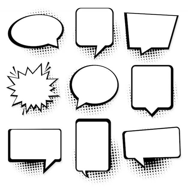 スピーチまたは思考バブル。レトロな空の漫画の吹き出し Premiumベクター
