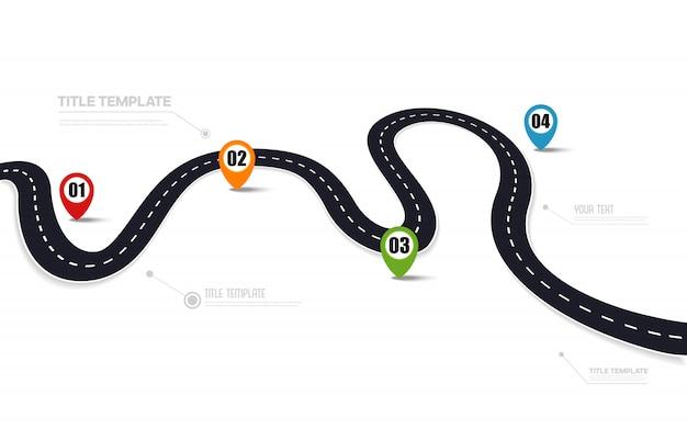 Дорога асфальтовая дорога с точками карты, инфографики шаблон Premium векторы