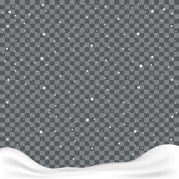 立ち下がり雪または透明な背景に雪の結晶 Premiumベクター