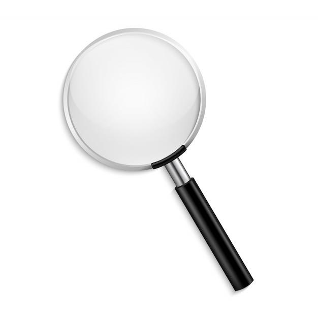 透明な背景に現実的な虫眼鏡ベクトル分離ベクトル図 Premiumベクター