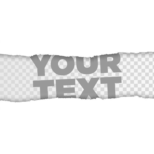 テキストまたはメッセージ用の破れた四角い紙のストリップ。破れたメモ用紙 Premiumベクター