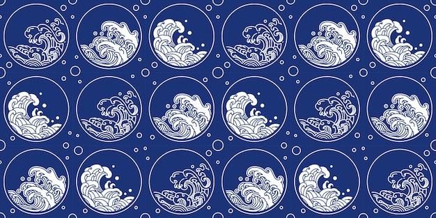 Китайский волновой рисунок в восточном стиле круглой формы Premium векторы