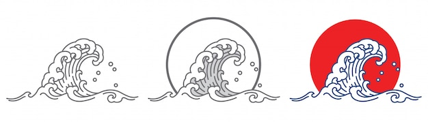 大きな海の波と夕日。 Premiumベクター