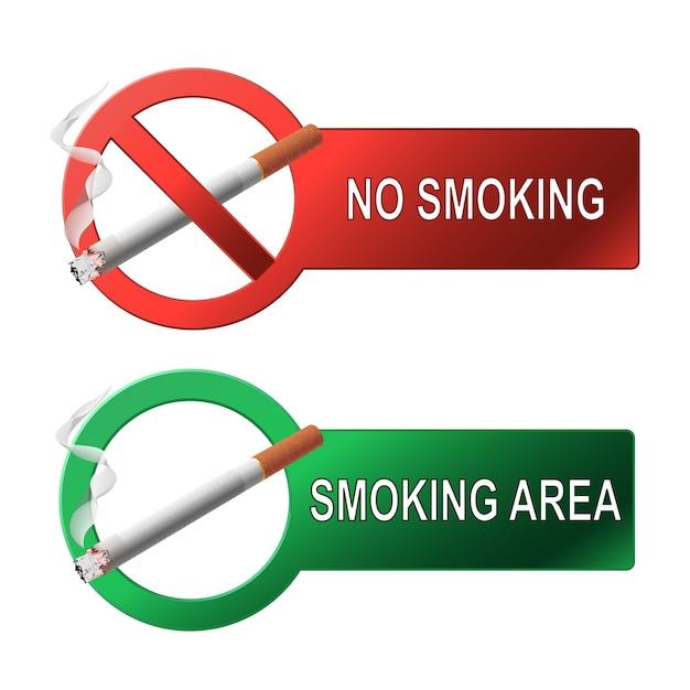 Знак не курить и место для курения Premium векторы