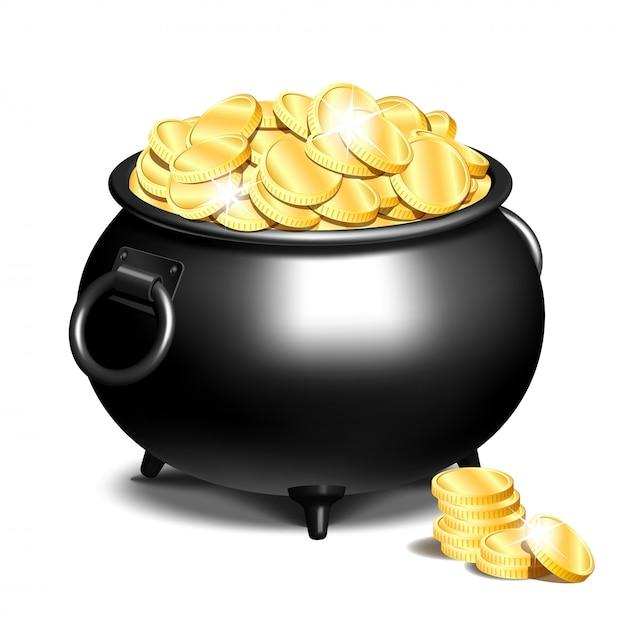 Котел или черный горшок с золотыми монетами Premium векторы