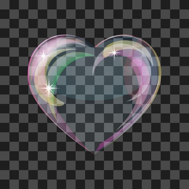 Блестящее пузырьковое сердце Premium векторы