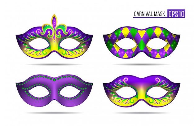 マルディグラのマスクのセット Premiumベクター