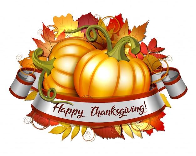幸せな感謝祭のレタリングとオレンジ色のカボチャのリボン Premiumベクター