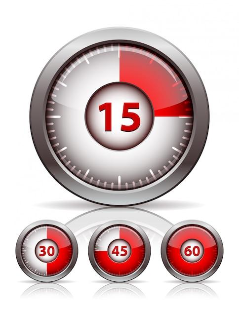 タイマー時計のセット Premiumベクター