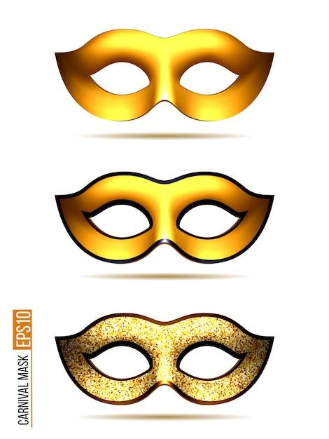 ゴールデンカーニバルマスクのセット Premiumベクター