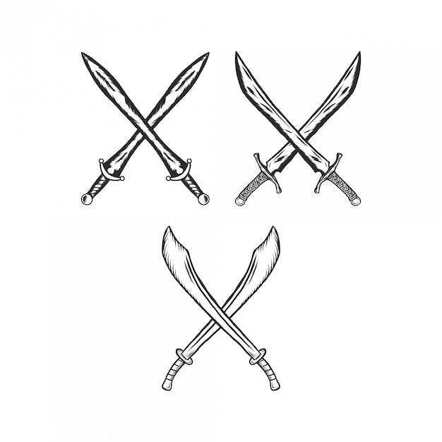 Крест меч гравюра винтаж иллюстрация Premium векторы