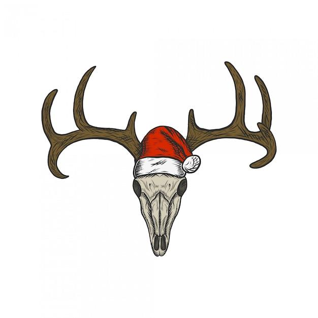 サンタ帽子を使用して手描きビンテージイラスト鹿の頭蓋骨 Premiumベクター