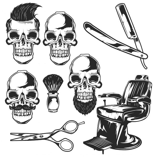 理髪店の要素と頭蓋骨のセット Premiumベクター