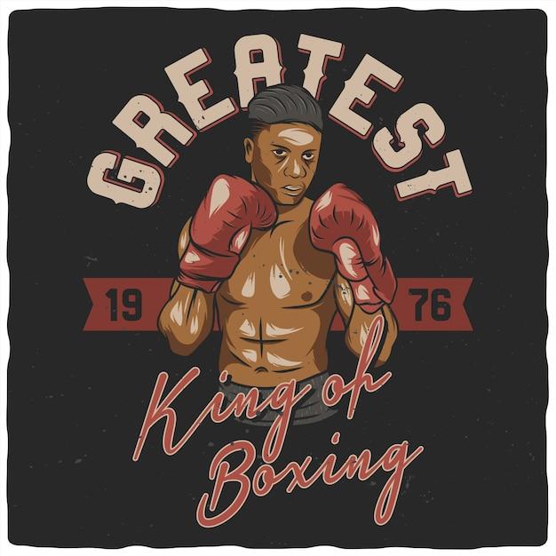 ボクシンググローブとボクサー Premiumベクター