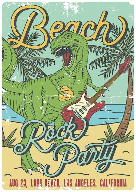 Дизайн плаката с изображением тиранозавра, играющего на электрогитаре Premium векторы