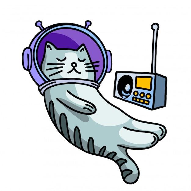 Кошка в шлеме слушает музыку Premium векторы