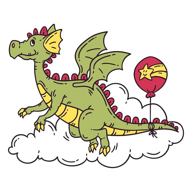 風船で空飛ぶドラゴン。 Premiumベクター