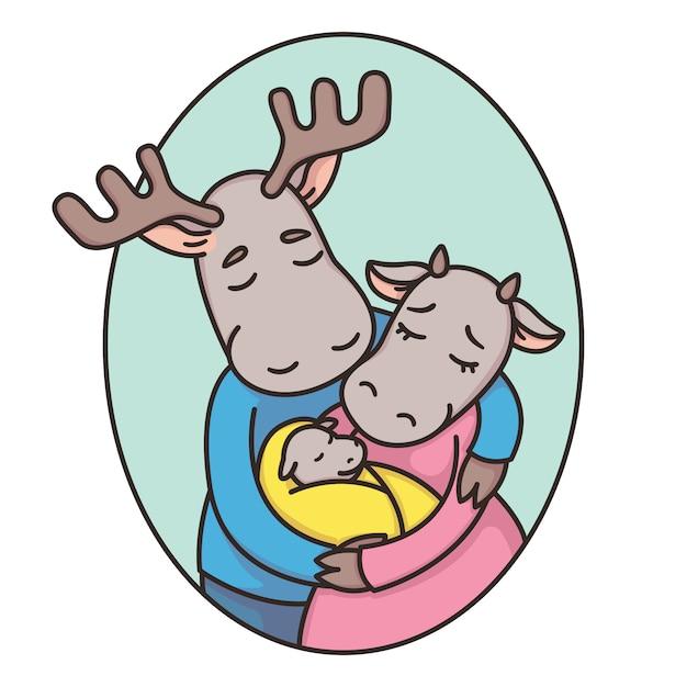 楕円形のフレームで鹿やムースの家族。お父さん、お母さん、新生児。父、母と赤ちゃん。真実の恋。 Premiumベクター