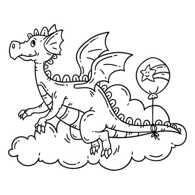 かわいい漫画の空飛ぶドラゴン。 Premiumベクター