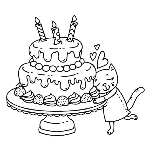 День рождения торт со свечой и милый кот. Premium векторы
