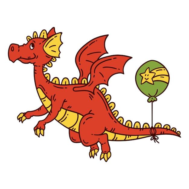 赤い空飛ぶドラゴン。 Premiumベクター