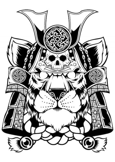 Тигр самурай Premium векторы