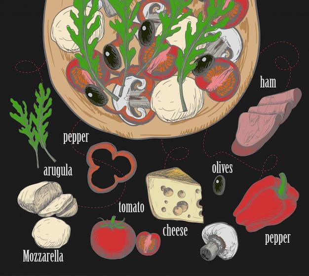 Ингредиенты для пиццы, такие как оливки, помидоры, грибы, моцарелла, руккола, ветчина, сыр, перец, нарисованные в меловом графическом стиле. Premium векторы