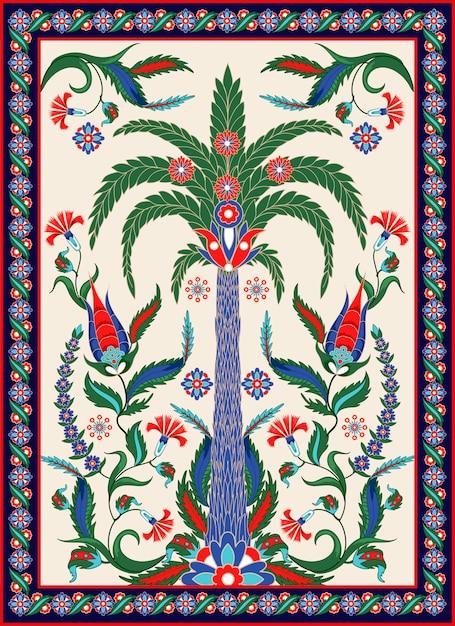 私たちの手のひら、花、ペイズリーなどのトルコ語とアラビア語の装飾要素。 Premiumベクター