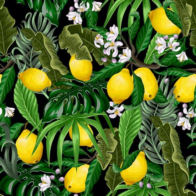 熱帯の葉とレモンのトレンディなシームレスパターン。 Premiumベクター