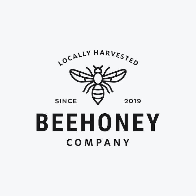 Мед пчелы урожай векторный дизайн логотипа Premium векторы