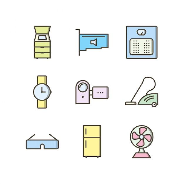 個人および商業用の電子機器のアイコンセット Premiumベクター