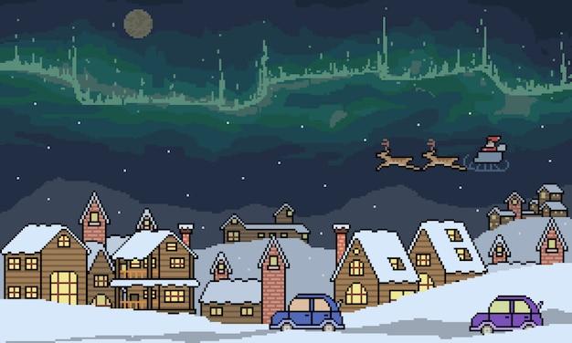 Пиксель арт зимняя городская сцена Premium векторы